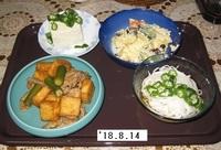 '18.8.14厚揚げと豚肉の煮物・ポテサ他.JPG