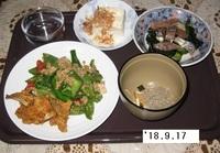 '18.9.17ピーマンとひき肉の甘辛あんかけ.JPG